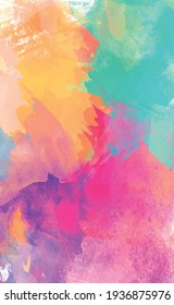 Panoramic texture of realistic multi-colored watercolor on a white background - Vector illustration