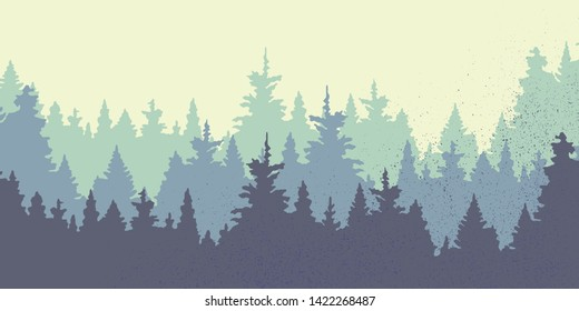 Panoramic with trees. Forest in the winter.