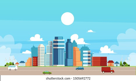 Panoramic urban landscape with high skyscrapers, suburb private buildings and city traffic a flat vector illustration. Town architecture and infrastructure concept.