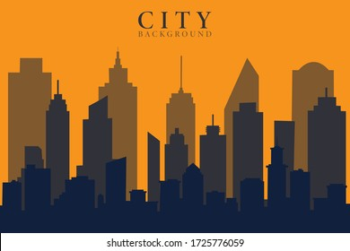 Panoramic urban modern city landscape. Vector illustration.