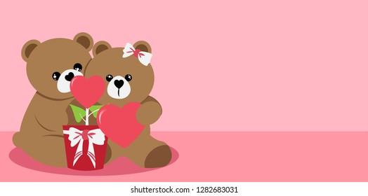 Panoramic valentine's day with Teddy Bear Lovers on pink background.