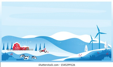 Panoramic vector illustration of Countryside landscape in winter,banner of farm house.The snowy blue mountain,hill with snow fall,barn and cow. Concept of organic cattle farm in winter.red blue color