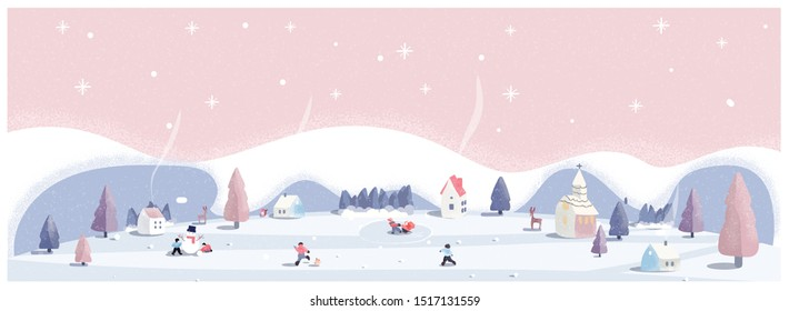 Panoramic vector illustration of winter wonderland in pink pastel background.The cute small village in Christmas day with snow.Kids playing outside with snowman and snowball.Minimal winter landscape.