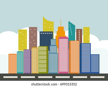 Panoramic View Of An Abstract Modern City With Colorful Skylines, White Clouds, Blue Sky And Street. Healthy Living Concept