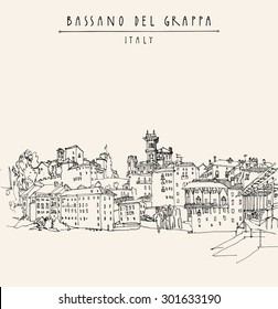 Panoramic view of Bassano del Grappa, Italy. Historical buildings in old center. Vector line art freehand drawing. Travel sketch, hand lettering. Tourist postcard template Engraved style illustration