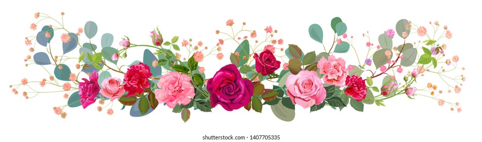 Panoramic view: bouquet of rose, carnation, gypsophile, eucalyptus. Horizontal border: red, pink flowers, green leaves, white background. Digital draw illustration in watercolor style, vintage, vector