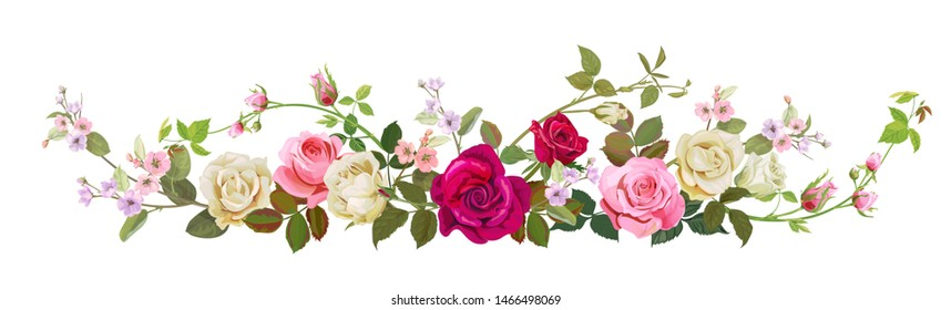 Panoramic view: bouquet of roses, spring blossom. Horizontal border: red, pink, white flowers, buds, green leaves, white background. Digital draw illustration in watercolor style, vintage, vector