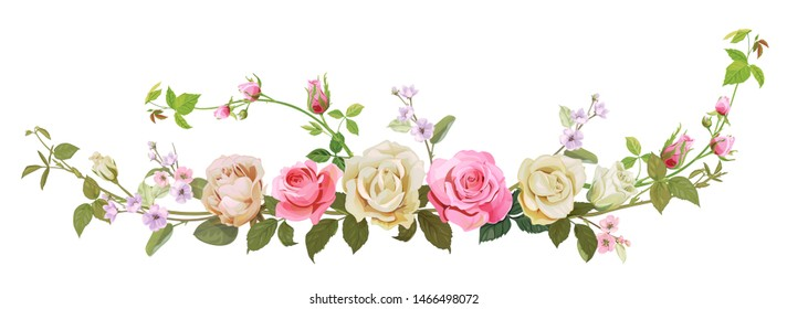 Panoramic view: bouquet of roses, spring blossom. Horizontal border: branches pink, white flowers, buds, green leaves, white background. Digital draw illustration in watercolor style, vintage, vector