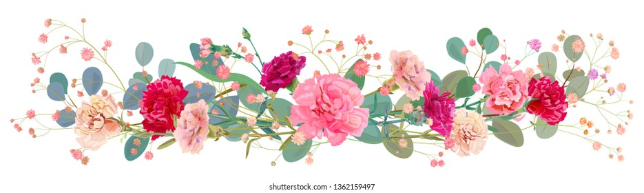 Panoramic view of carnation schabaud: pink, white, red flowers, leaves eucalyptus, twigs gypsophile, white background, illustration in watercolor style for Mother's Day, horizontal pattern, vector