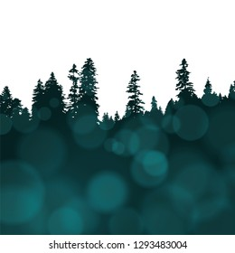 Panoramic view of the forest. Tree Silhouette with emerald bokeh lights. Vector illustration