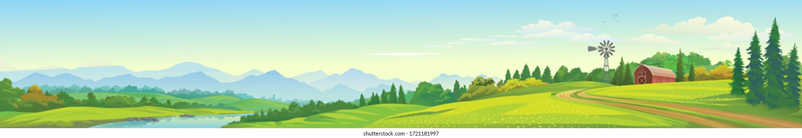 A panoramic view of the lake, mountains, meadows and a barn.