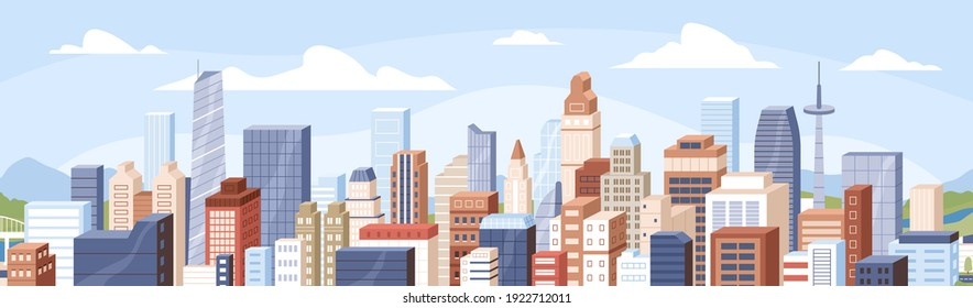 Panoramic view of modern buildings, skyscrapers, towers in business city block. Horizontal cityscape of financial center or downtown on summer day. Colored flat cartoon vector illustration