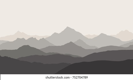 panoramic view of the mountain landscape with fog in the valley below with the alpenglow grey sky - vector