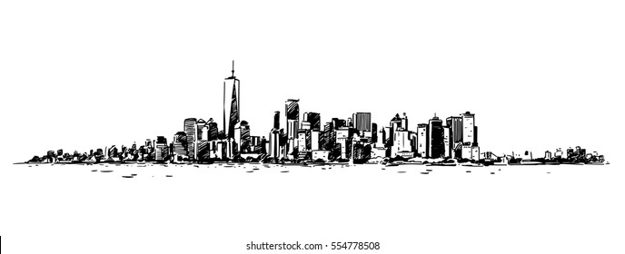Panoramic View of New York from Hudson. Ink hand drawn sketch