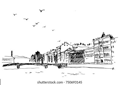 Panoramic view of the old city with his houses, roofs, bridge, river and flying birds.Vector illustration.