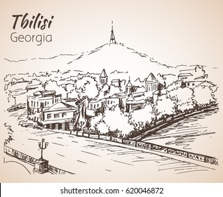 Panoramic view of old Tbilisi, Georgia. Isolated on white background