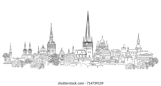Panoramic view of the old town and its sights. Tallinn. Estonia.