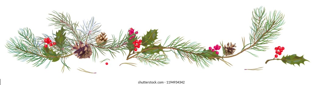 Panoramic view with pine branches, cones, holly berry. Horizontal border with Christmas tree on white background. Hand draw, watercolor style, decorative botanical illustration for design, vector
