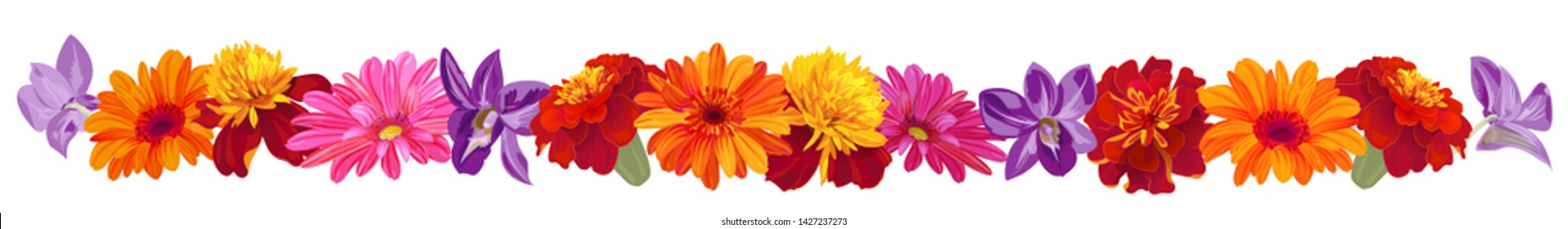 Panoramic view: roses, gerberas, daisies, marigold (tagetes), orchids. Horizontal border, garland flowers for Indian religion festive decoration. Botanical illustration, watercolor style, vector