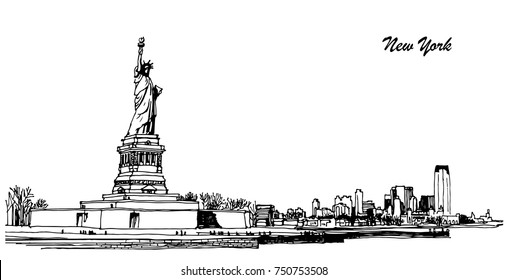 Panoramic view of the statue of liberty in New York. vector image with skyscrapers and sculpture in america. tourism and travel. black and white sketch on white background