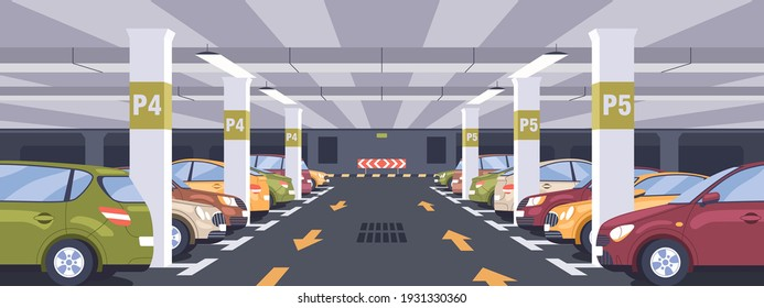 Panoramic view of urban underground car park full of parked autos. Basement garage interior with markings, signs, columns and reserved parking lots. Colored flat vector illustration