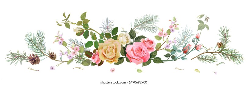 Panoramic view with white, pink roses, spring blossom, pine branches, cones. Horizontal border for Christmas: flowers, buds, leaves on white background, digital draw, watercolor style, vector