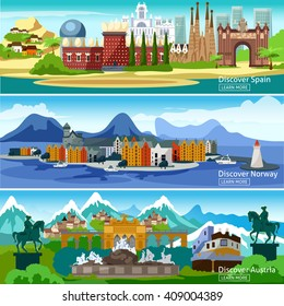Panoramic views horizontal banners of the main attractions of European tourist cities in Spain Norway and Austria vector illustration