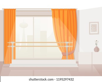 panoramic window with curtains in the studio overlooking the fantastic city Cartoon vector illustration of balet room. A vector image of a workout room. Ballet Studio. Background.