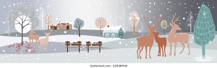 Panoramic of winter forest landscape,Vector illustration of horizontal banner of winter wonderland of rein deers family in forest with snowing at night,Winter and Merry Christmas landscape background,
