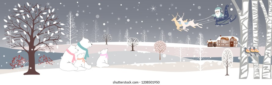 Panoramic of winter landscape with snow,Vector of horizontal banner of winter wonderland with cute polar bear family looking up at Santa Claus and Reindeers in sky,Merry Christmas and Happy New year