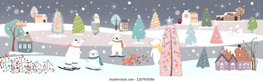 Panoramic of winter landscape,Vector of horizontal banner of winter wonderland at countryside with snow, trees with decoration and polar bear playing ice skates,Merry Christmas and New year background