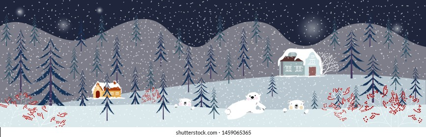 Panoramic of winter landscape,Vector of horizontal banner of winter wonderland at countryside with snowing house,mountain,forest tree and polar bear family, Merry Christmas and new year background