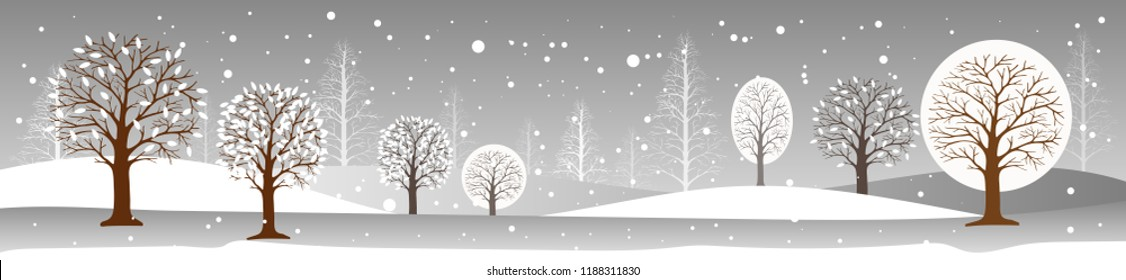 Panoramic of winter landscape,Vector illustration of horizontal banner of winter landscape field of trees with snow covering, Forest trees  with snowing,Merry Christmas landscape background