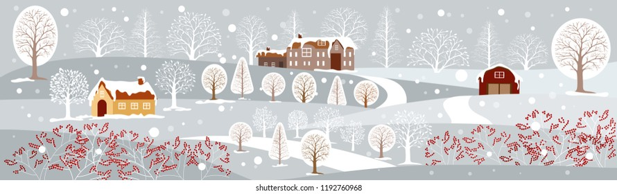 Panoramic of winter landscape,Vector illustration of horizontal banner of winter landscape countryside with snow covering,Farmhouse,moutain and trees with snowing,Merry Christmas landscape background