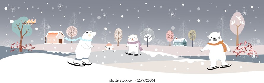Panoramic of winter landscape,Vector illustration of horizontal banner of winter wonderland at countryside with snow covering,house,moutain,trees and cute polar bear on ice skates,Merry Christmas