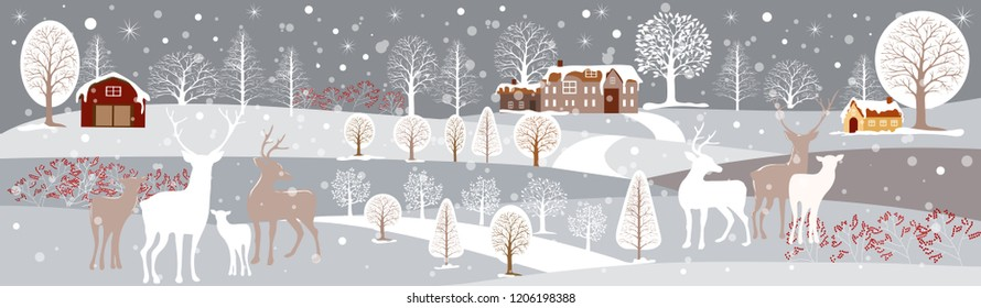 Panoramic of winter landscape,Vector illustration of horizontal banner of winter landscape countryside with snow covering,Farmhouse,moutain and reindeer family,Merry Christmas landscape background