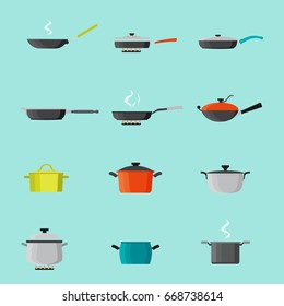 Pans and pots colorful icons set. Skillet, saucepan, for soup, roasting pan, and more cookware for hot food processing. Isolated. Vector.