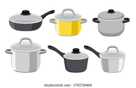 Pans pots and saucepans. Kitchen pan objects, cartoon kitchenware tools collection for cooking, vector illustration of elements for boiling and frying isolated on white background