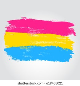 Pansexual pride flag in a form of brush stroke. Brush stroke style. Vector EPS 10
