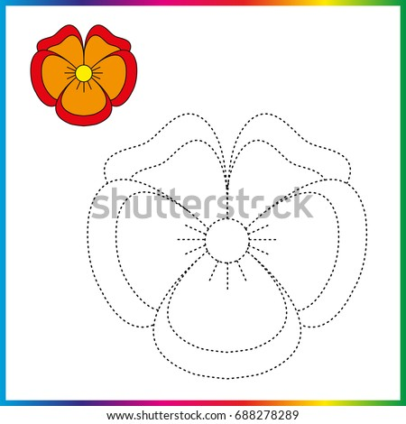 Pansies Flowers Connect Dots Coloring Page Stock Vector Royalty