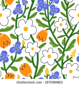 Pansy, daisy and tulip flower garden, vector seamless pattern on white background