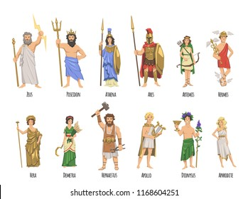 Pantheon of ancient Greek gods, Ancient Greece mythology. Set of characters with names. Flat vector illustration. Isolated on white background.