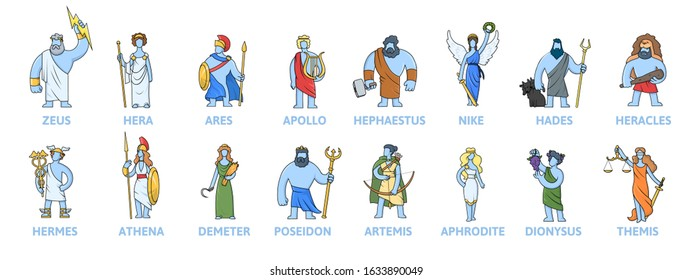 Pantheon of ancient Greek gods, Ancient Greece mythology. Set of cartoon characters with names. Flat vector illustration, isolated on white background.