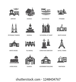 Pantheon, Buddha, Airport, Church, Eiffel tower, Christian Cemetery, Taj mahal, Goverment Building icon 16 set EPS 10 vector format. Icons optimized for both large and small resolutions.