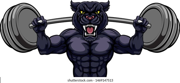 A panther animal body builder sports mascot weight lifting a barbell
