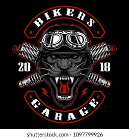 Panther biker with spark plugs. Vector illustration with motorcycle rider. Design of biker patch. All elements, colors text (curved) are on the separate layers.