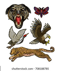 Panther, butterfly, crane, eagle and leopard embroidery patch for textile design.