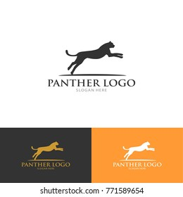 panther cat wild animal silhouette modern clean logo vector illustration