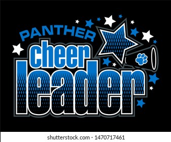 panther cheerleader team design with megaphone and stars for school, college or league