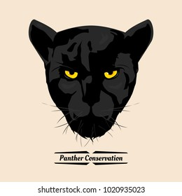 Panther conservation, head black panther, illustration design.